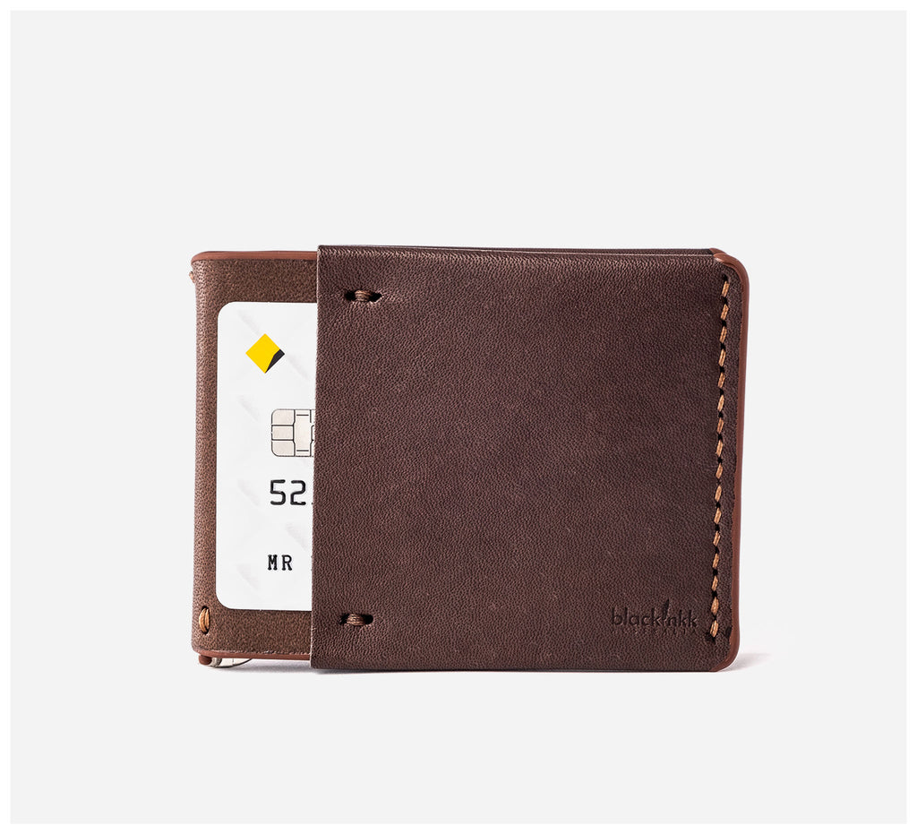 Blackinkk - Money Clip Wallet RFID - Kangaroo Leather - Vintage Chocolate