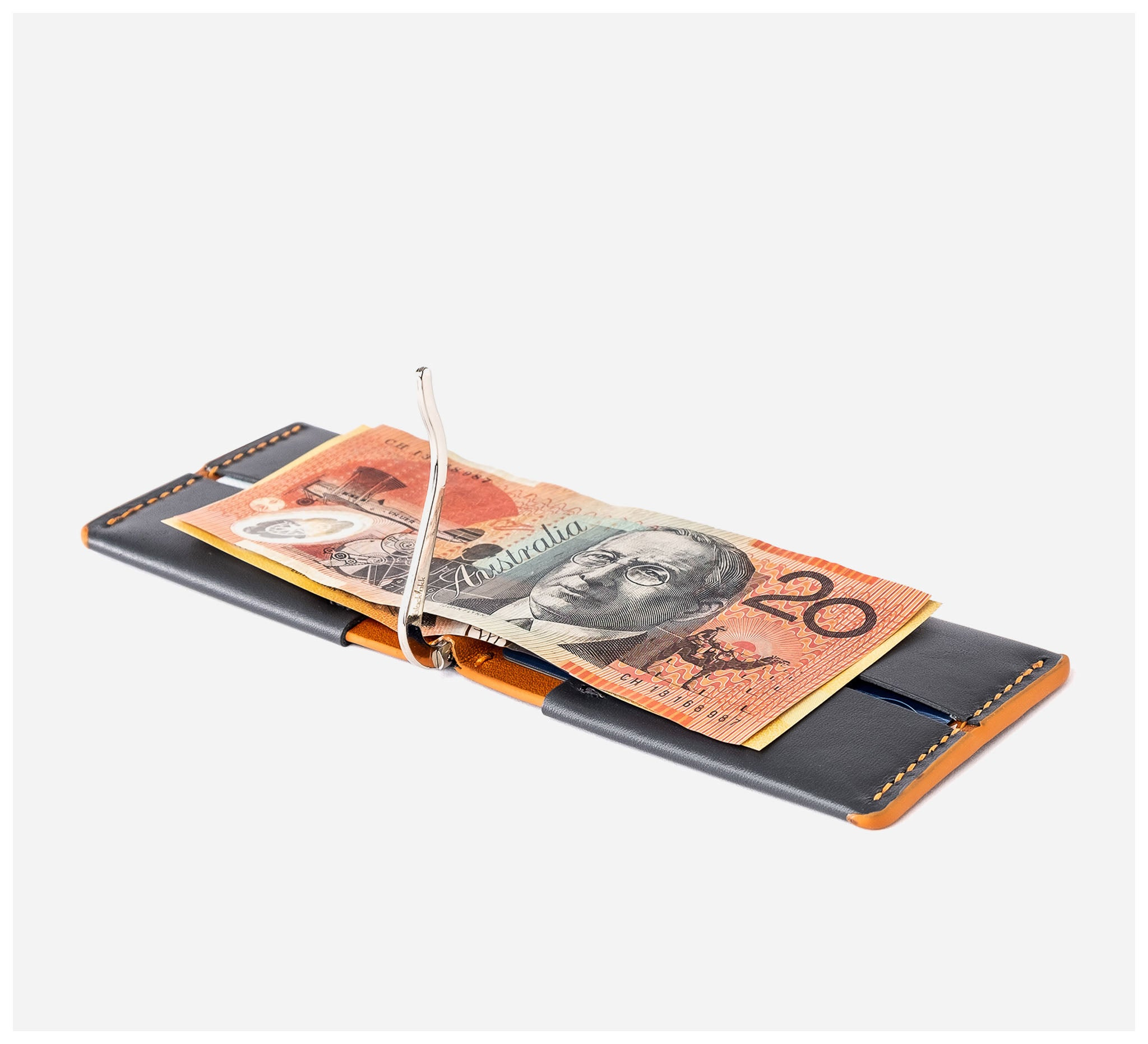 Blackinkk - Money Clip Wallet RFID - Kangaroo Leather - Graphite Grey