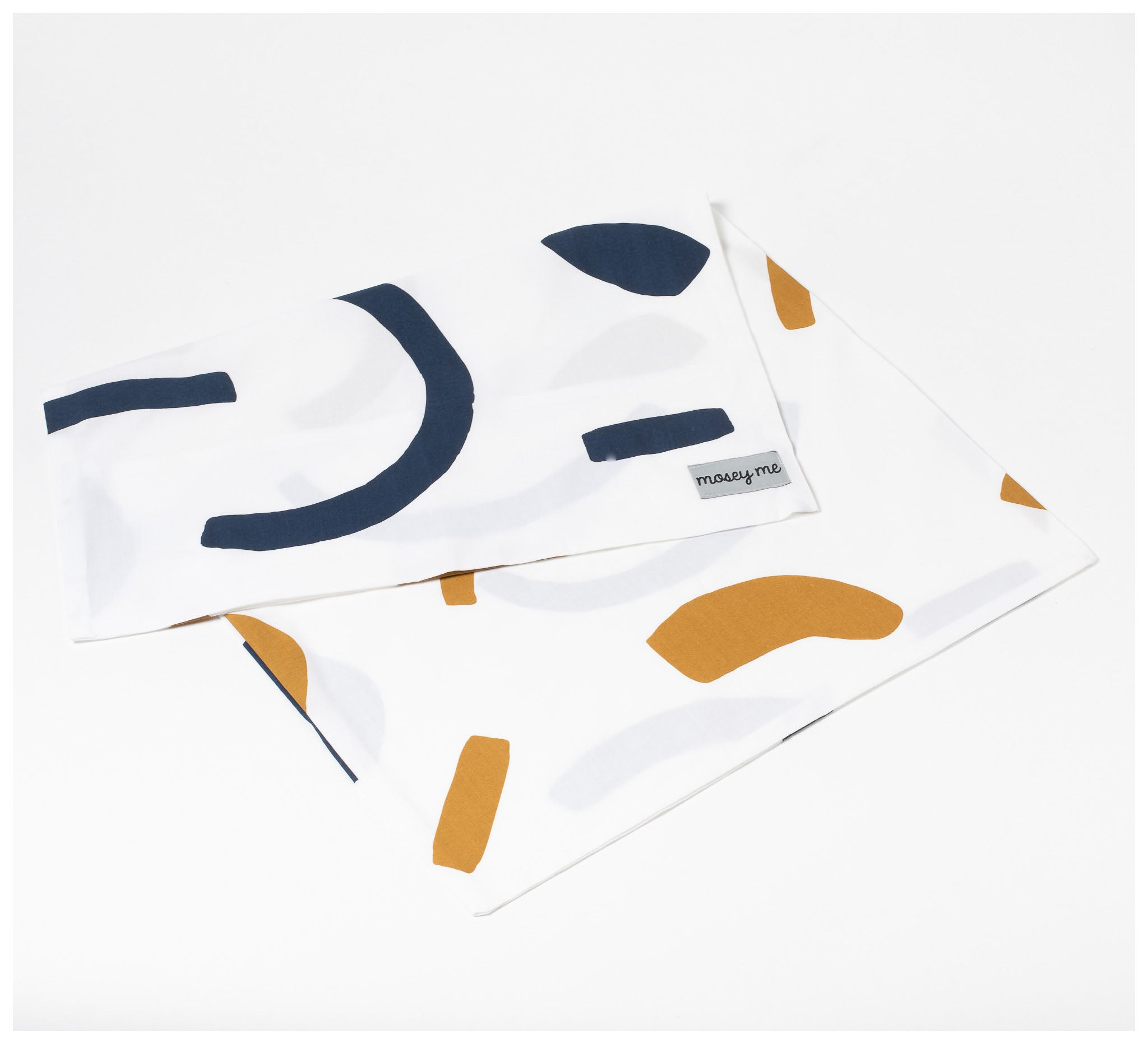 Mosey Me - Shapes Pillowcase Set - Navy & Tan
