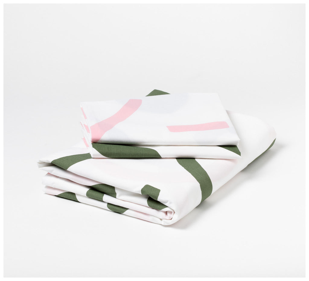 Mosey Me - Shapes Quilt Cover Set - Pink & Olive