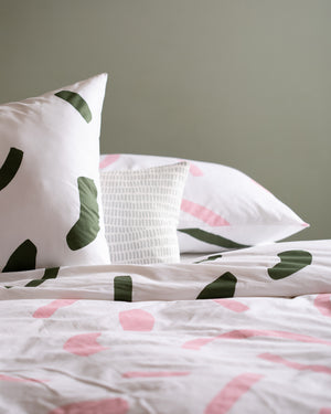 Mosey Me - Shapes Pillowcase Set - Pink & Olive
