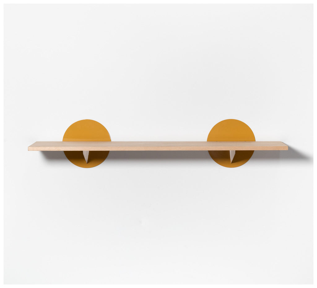 Tuckbox Design - Spot Shelf - Mustard Mild steel and Timber