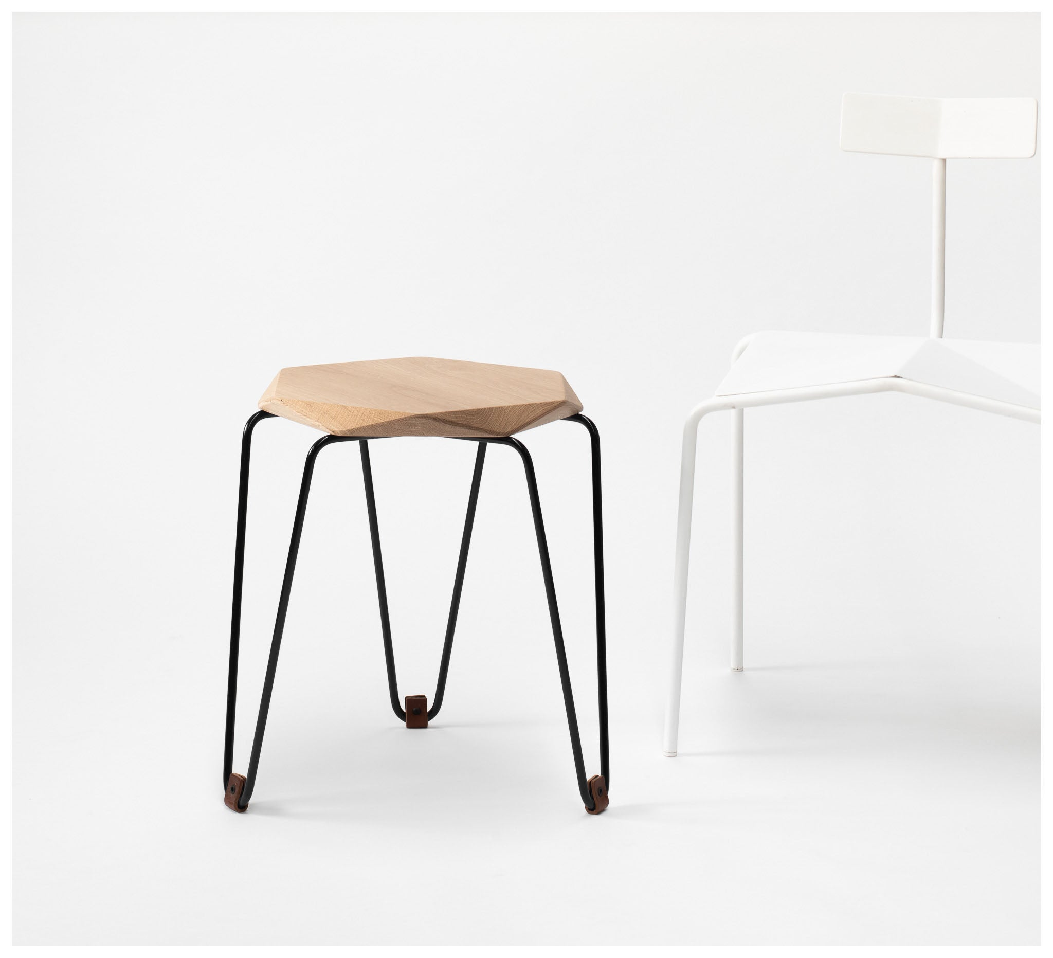 Tuckbox Design - Klein Gem Stool - Matte Black Mild Steel and Timber