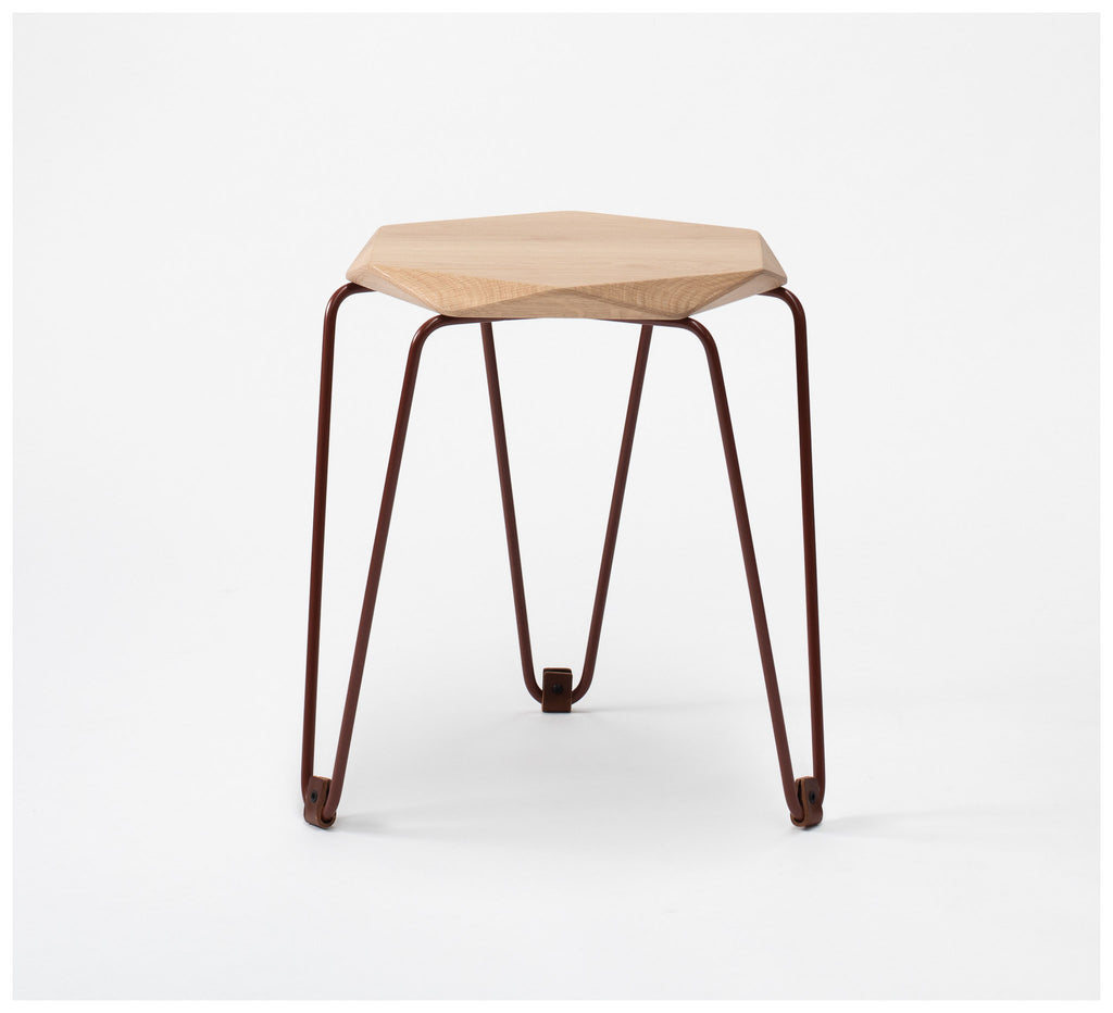 Tuckbox Design - Klein Gem Stool - Terracotta Mild Steel and Timber
