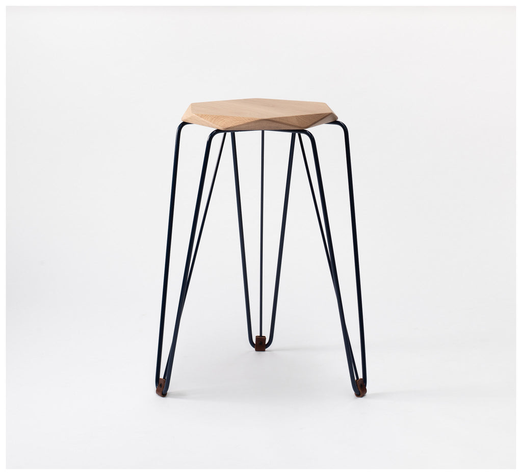 Tuckbox Design - Rex Gem Stool - Navy Mild Steel and Timber