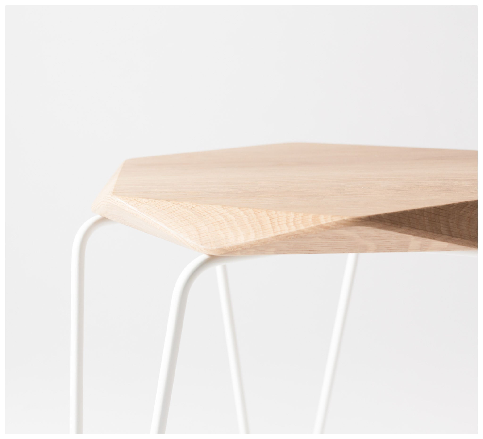 Tuckbox Design - Klein Gem Stool - Matte White Mild Steel and Timber