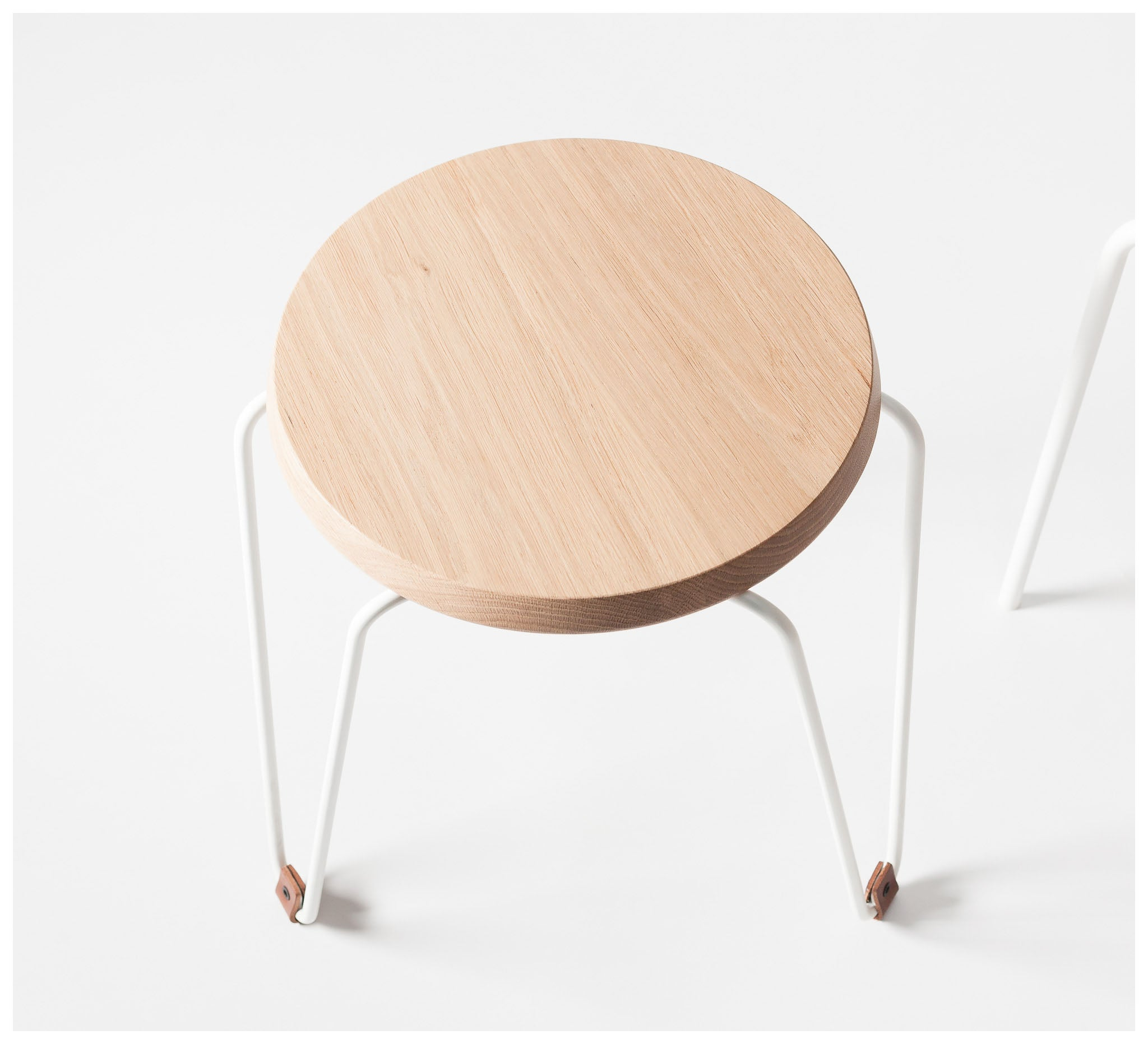 Tuckbox Design - Klein Lozenge Stool - Matte White Mild Steel and Timber