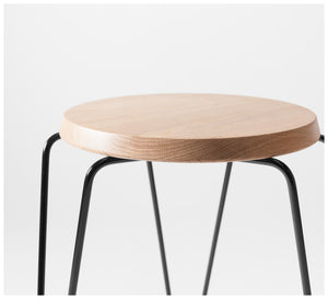 Tuckbox - Klein Lozenge Stool  - Matte Black Mild Steel and Timber