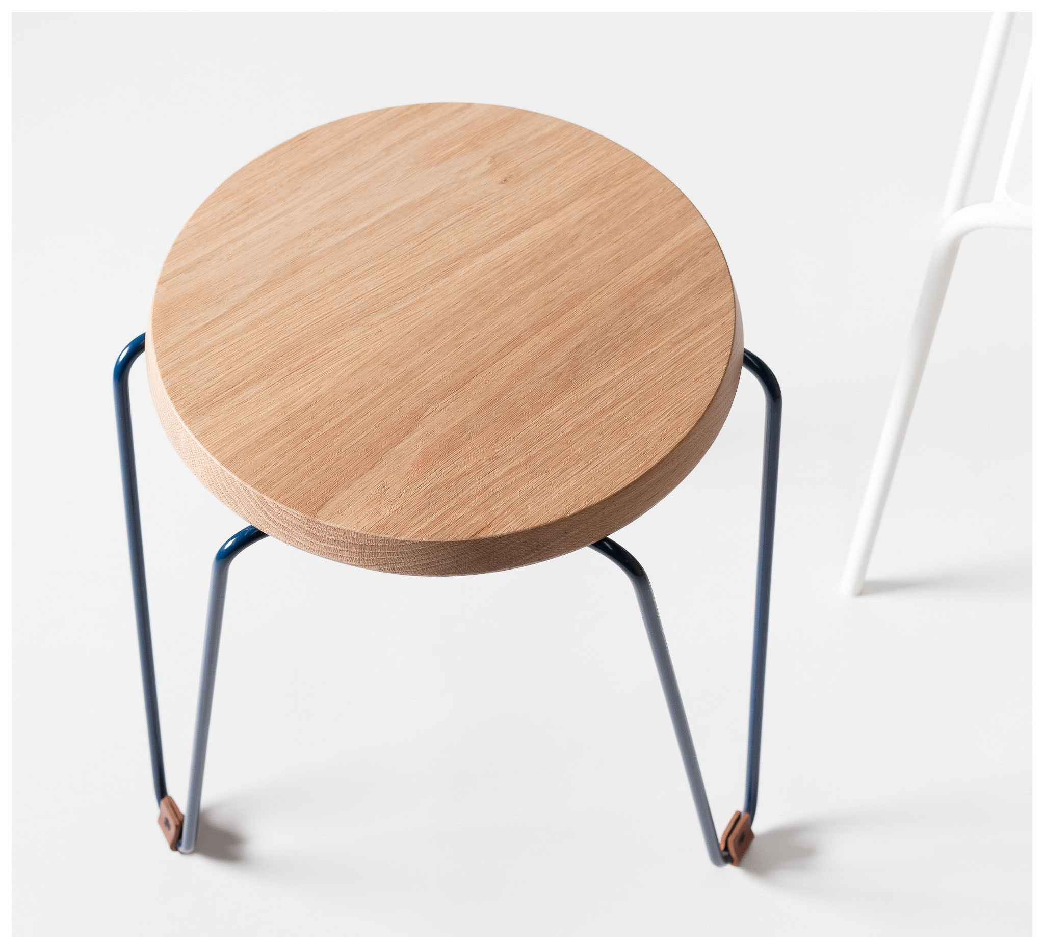 Tuckbox - Klein Lozenge Stool - Navy Mild Steel and Timber