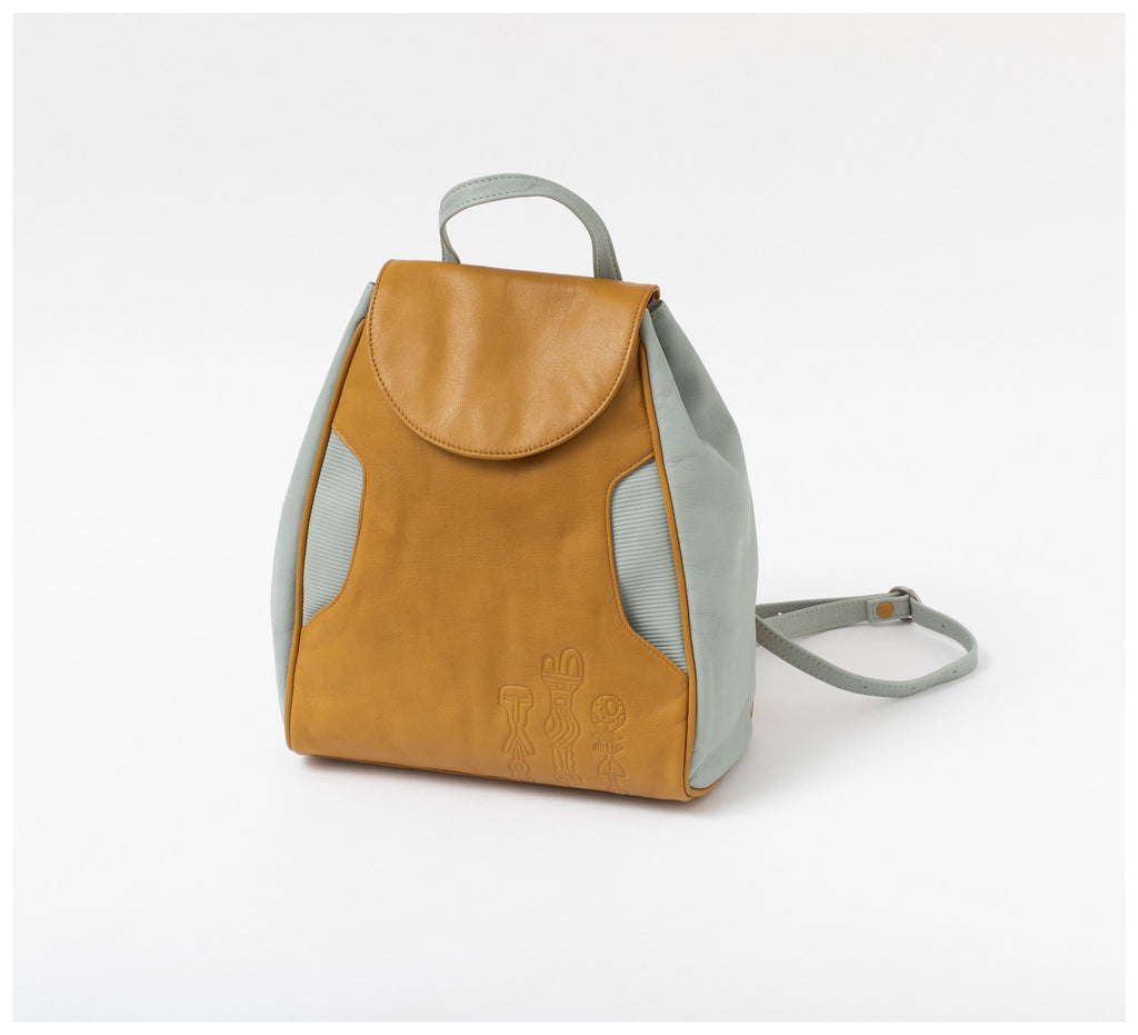Oktoberdee - Aleut Leather Backpack - Lichen & Sky Blue
