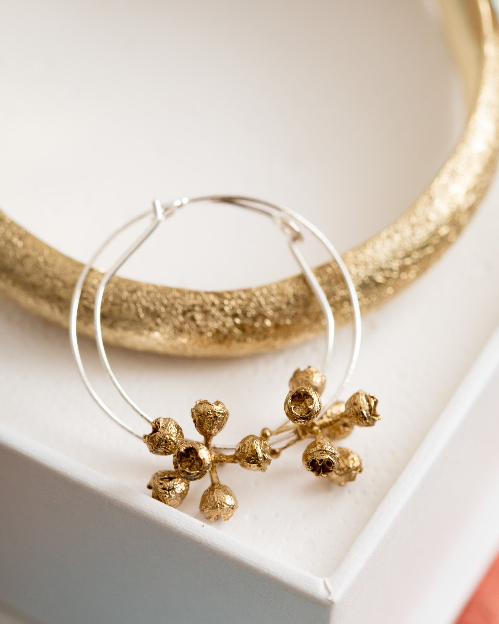 Abby Seymour – Gumnut Cluster Hoops Brass Earrings