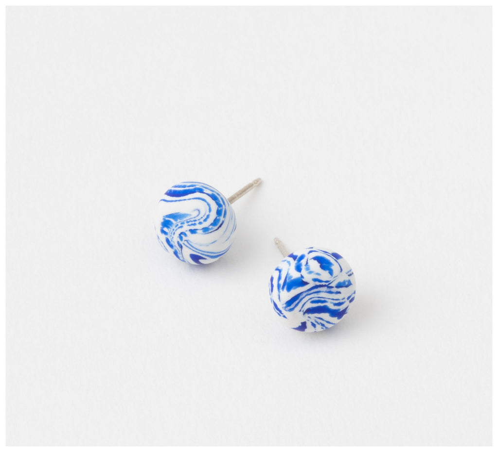 Emily Green Studio - Stud Earrings - China Blue - China Blue