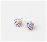 Emily Green Studio - Stud Earrings - Rock Pool - Shell Pink and Turkish Sea Blue Marble
