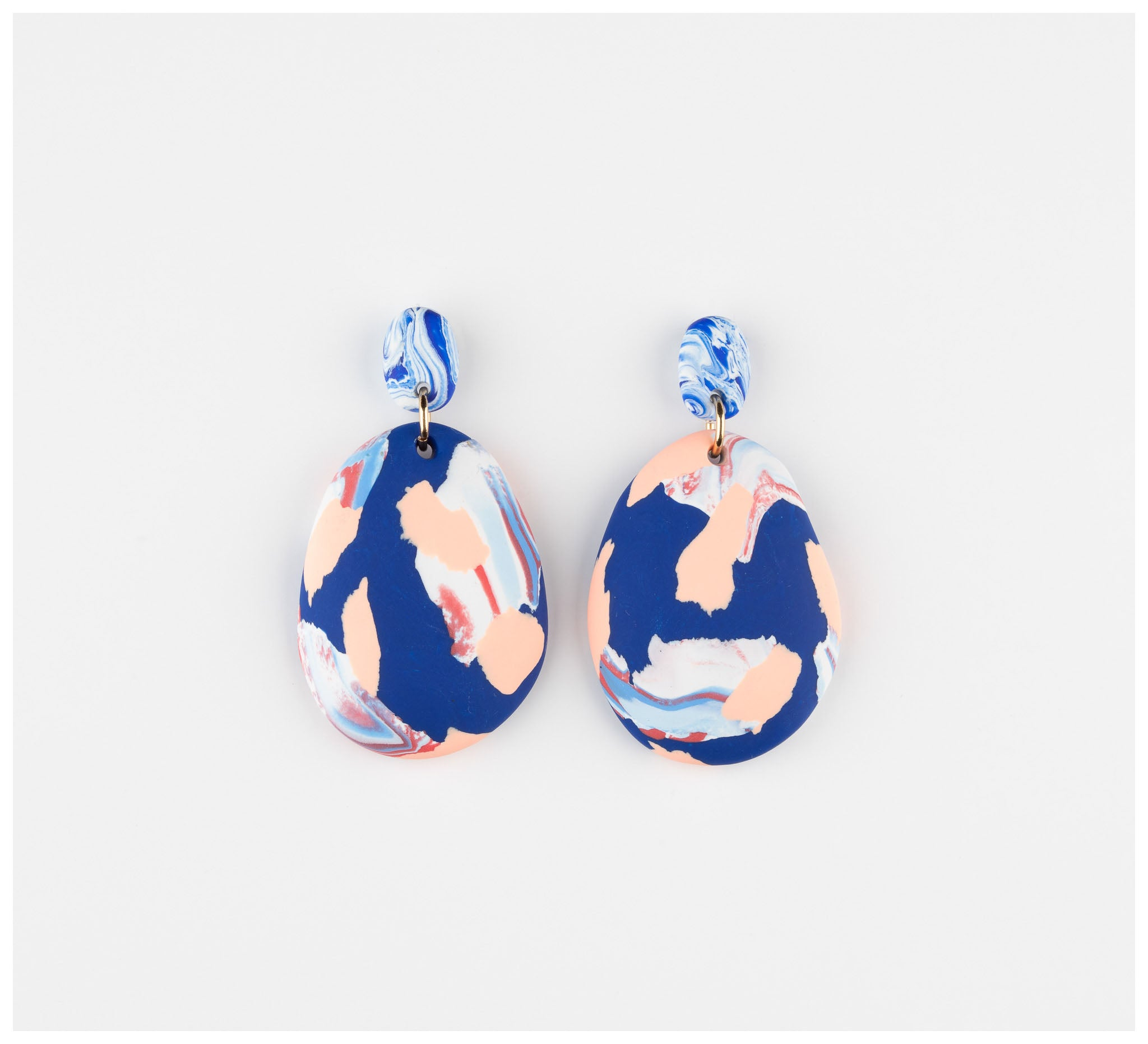 Emily Green Studio - Drop Earrings - Blue and Peach Ink