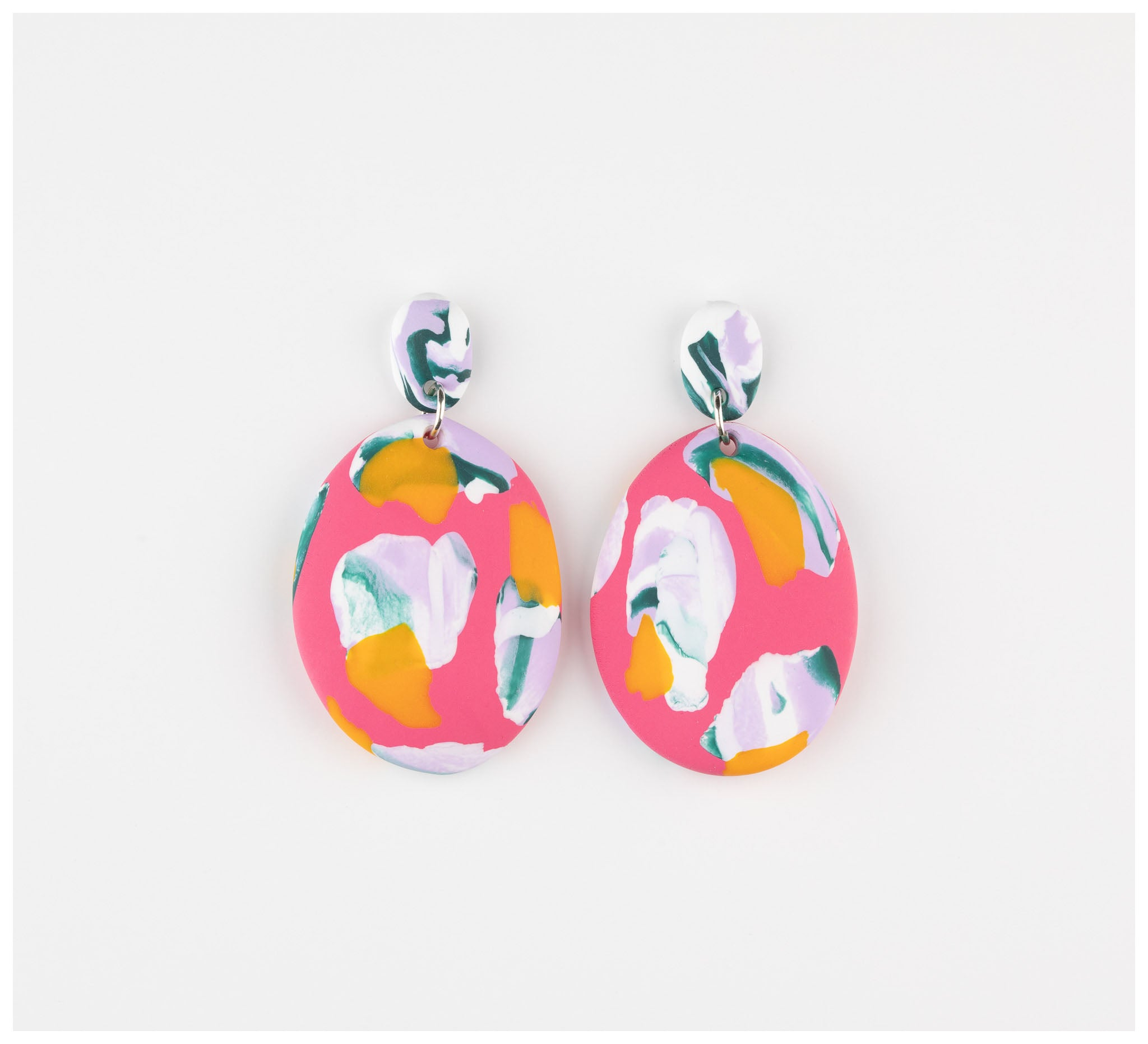 Emily Green Studio - Drop Earrings - Lipstick and Lilac Ink