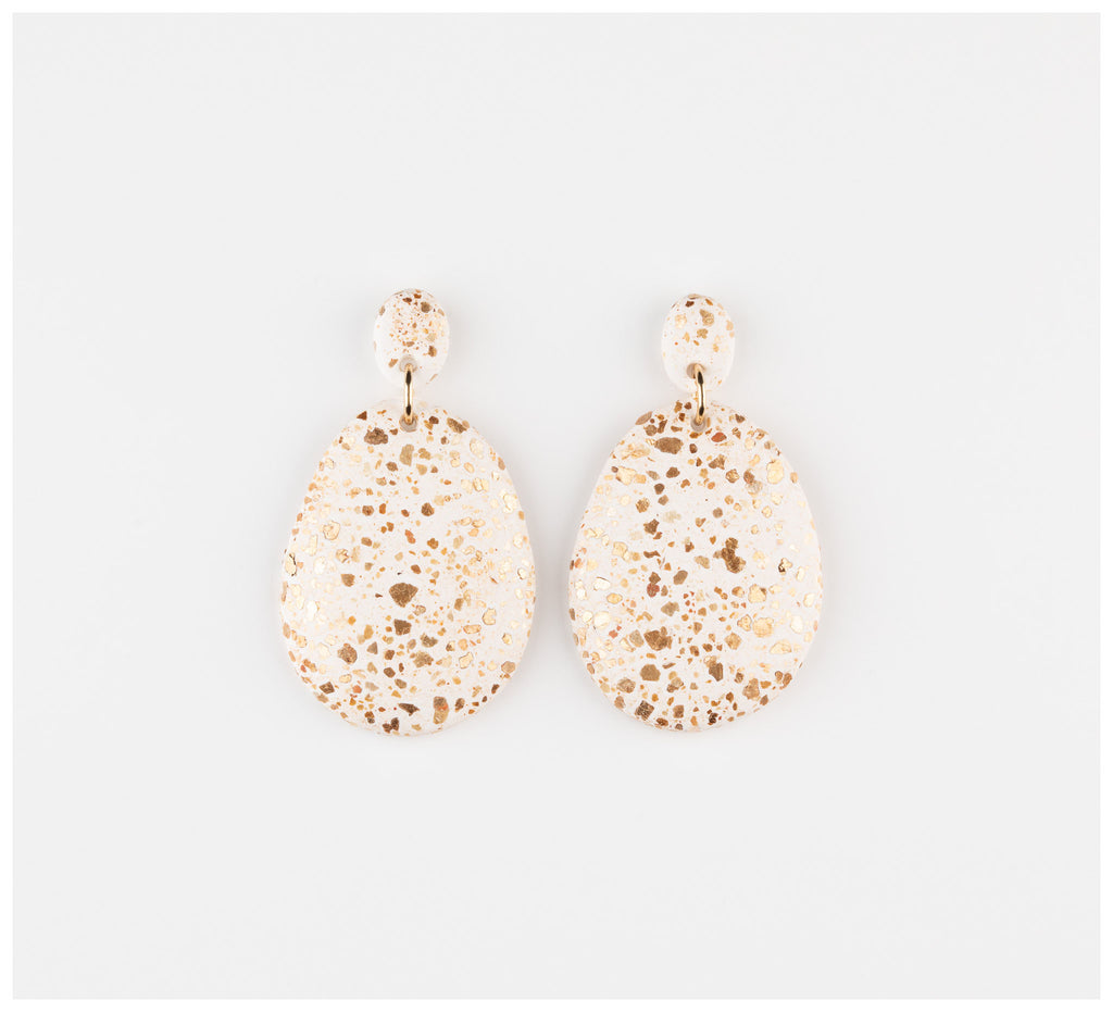 Emily Green Studio - Drop Earrings - White Terrazzo
