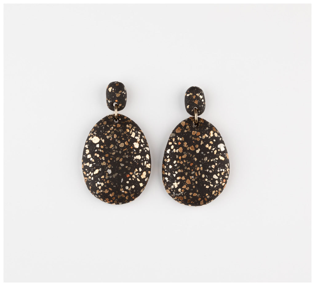 Emily Green Studio - Drop Earrings - Black Terrazzo