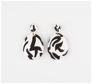 Emily Green Studio - Drop Earrings - Black and White Texta