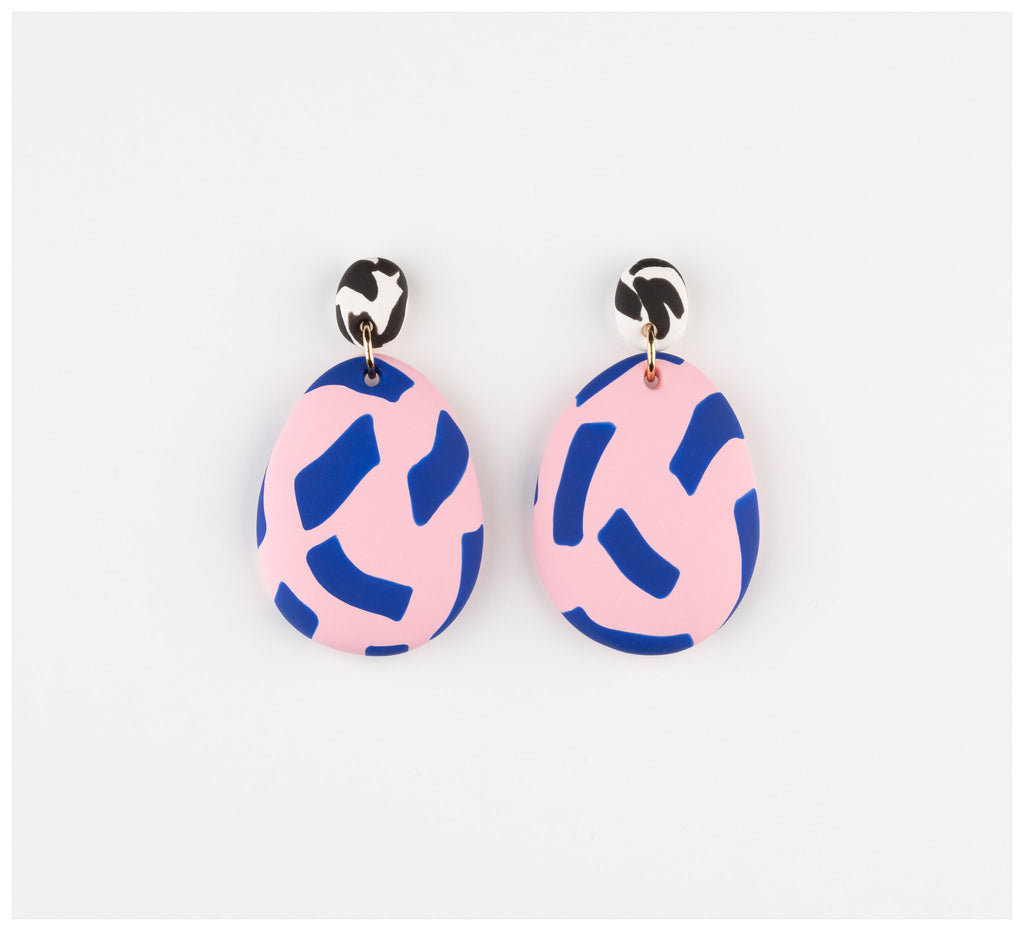 Emily Green Studio - Drop Earrings - Blue and Rose Tape