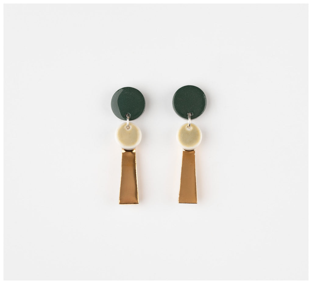 Erin Lightfoot - Small Porcelain Tassels - Green & Gold