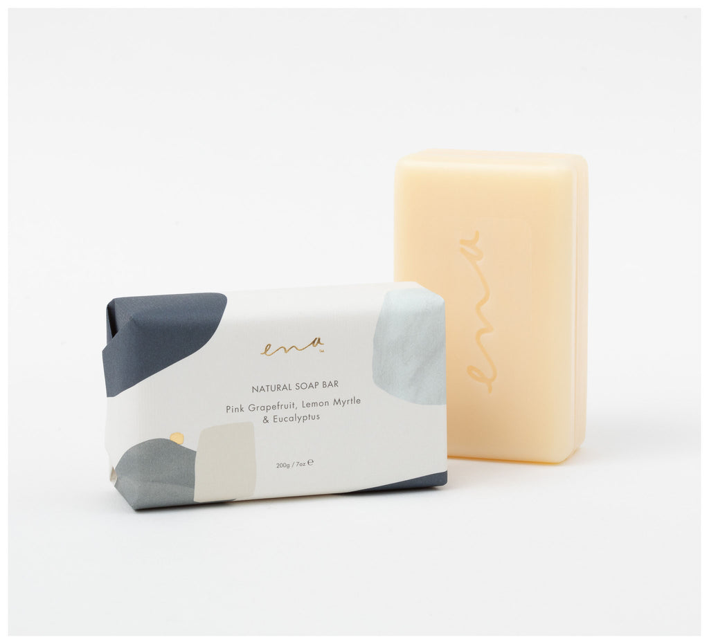 Ena Products -  Natural Soap Bar - Pink Grapefruit, Lemon Myrtle & Eucalyptus 200gm