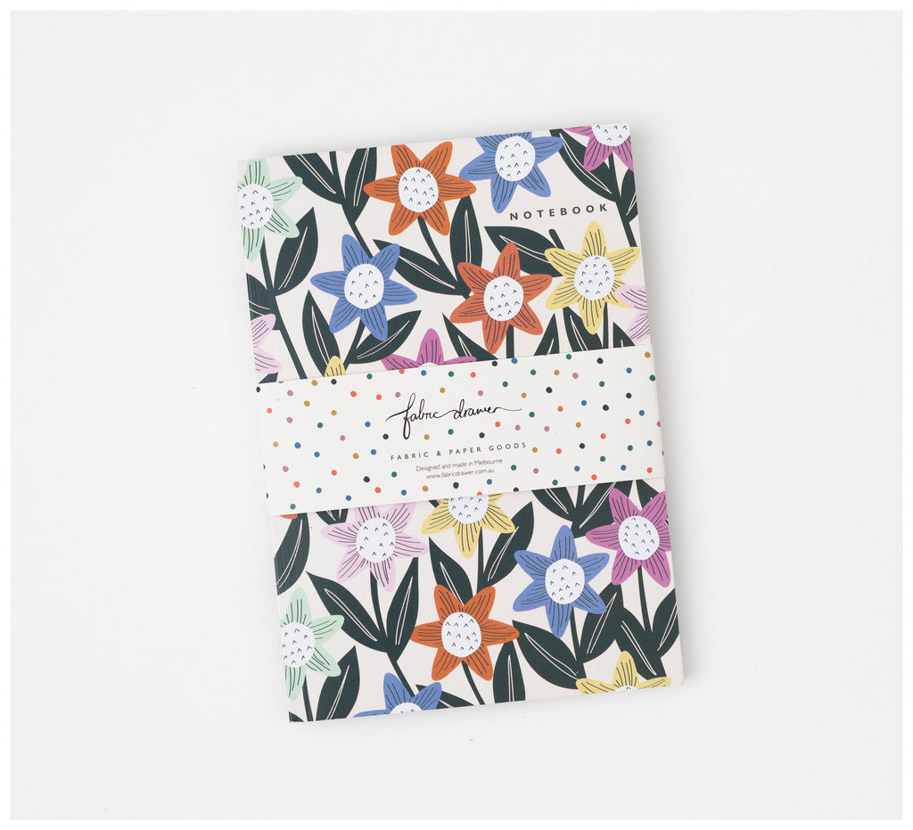 Fabric Drawer - Notebook Journal - Blank A5 - Recycled Paper - Colourful Bloom