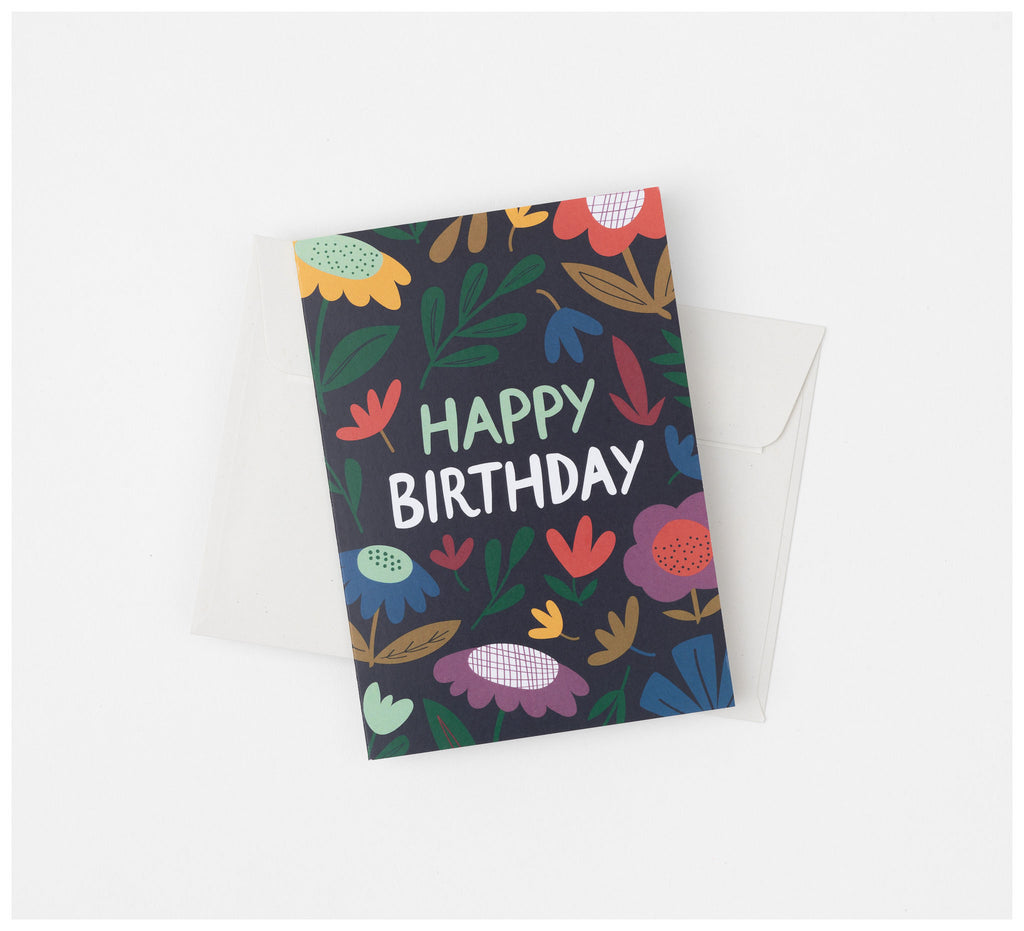 Fabric Drawer - Greeting Card - Recycled Card and Envelope - Happy Birthday Floral