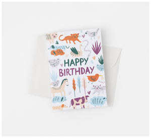 Fabric Drawer - Greeting Card - Recycled Card and Envelope - Happy Birthday Farm