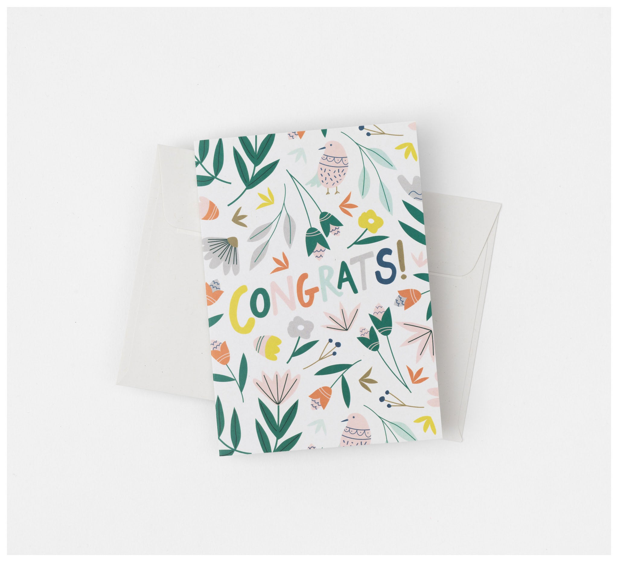 Fabric Drawer - Greeting Card - Recycled Card and Envelope - Congrats