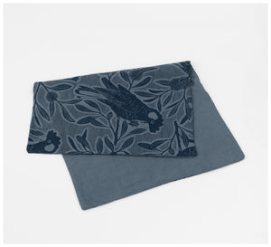 Ink & Spindle - Linen Pillowcase – Cockatoo on Basalt