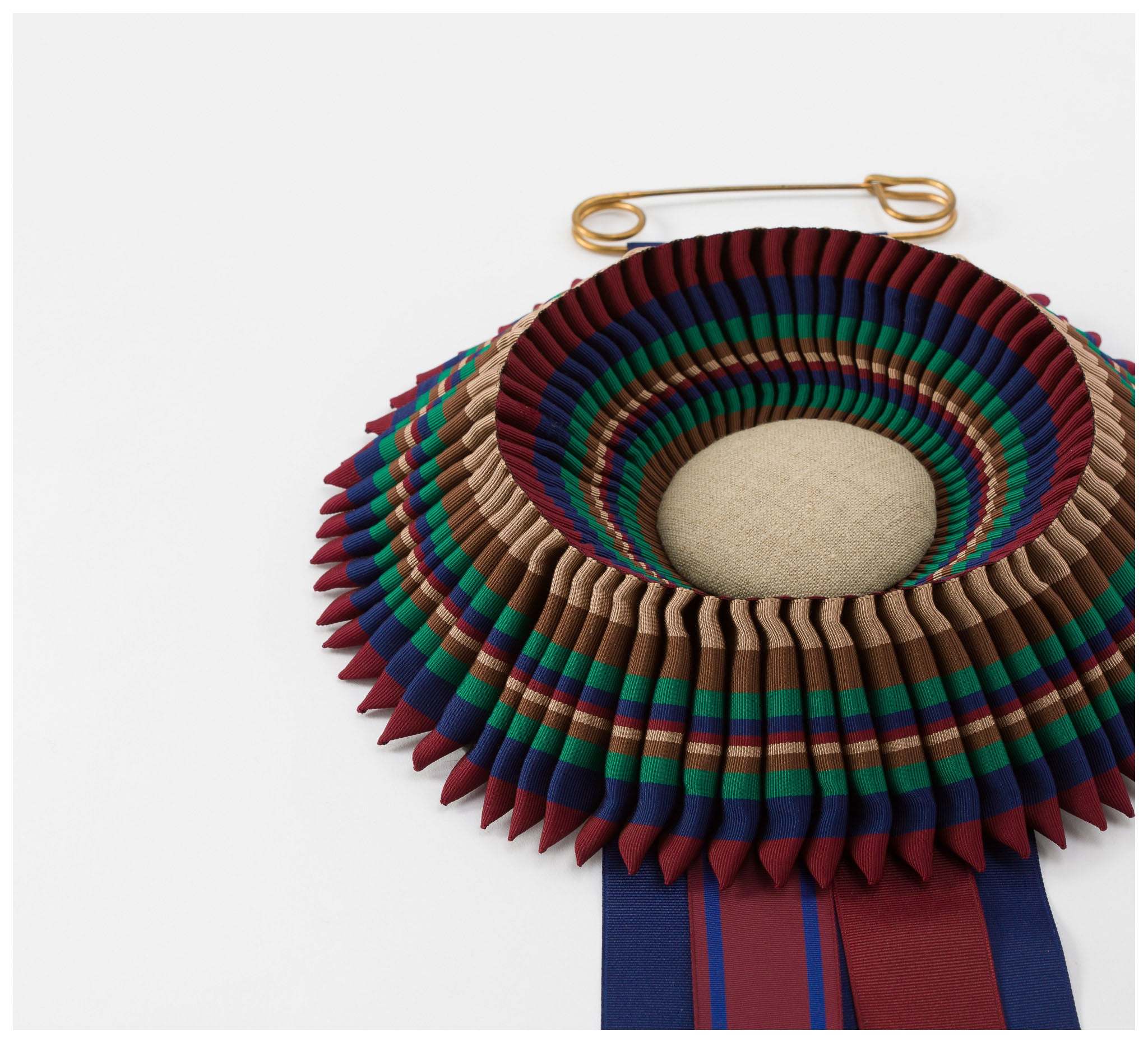 Skinny Wolf - Burgundy, Blue, Green and Brown Striped Rosette - Large