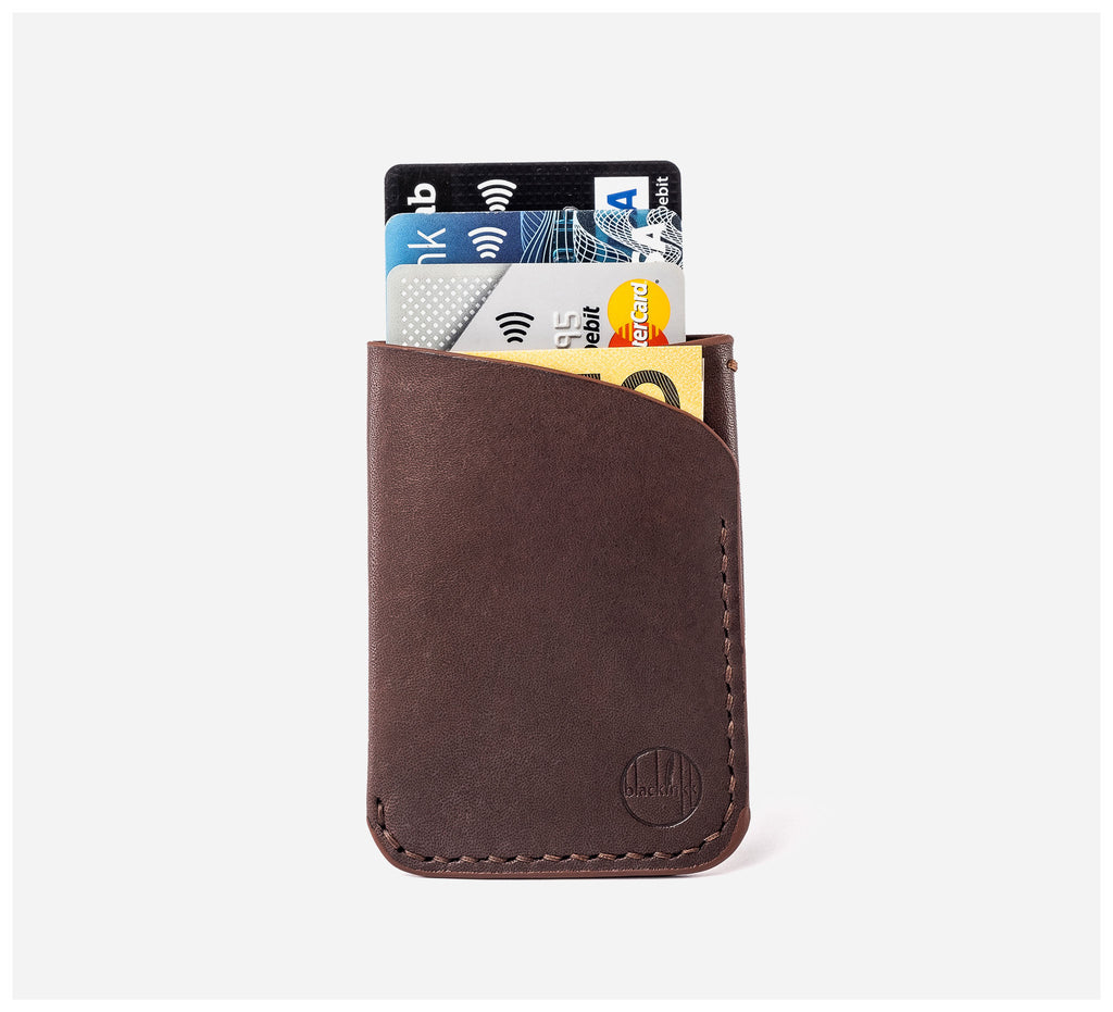 Blackinkk - Two Pocket RFID Cardholder - Kangaroo Leather - Vintage Chocolate