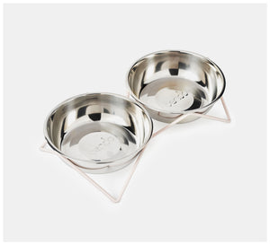 Bendo - Woof Woof Double dog bowl - Black, Blush or Copper