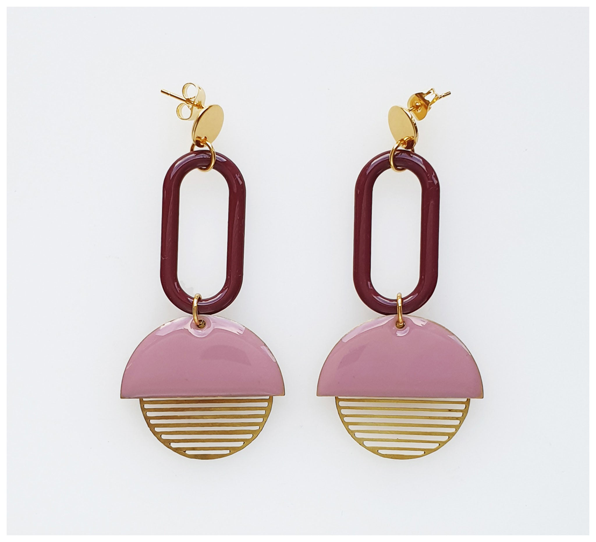 Middle Child - Visor Earrings - Lilac & Plum