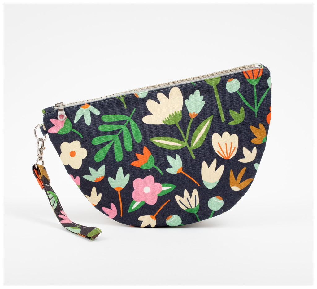 Fabric Drawer - Half Moon Clutch - Winter Garden