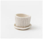 Warisa - Mini planter with saucer - Pencil Stripes