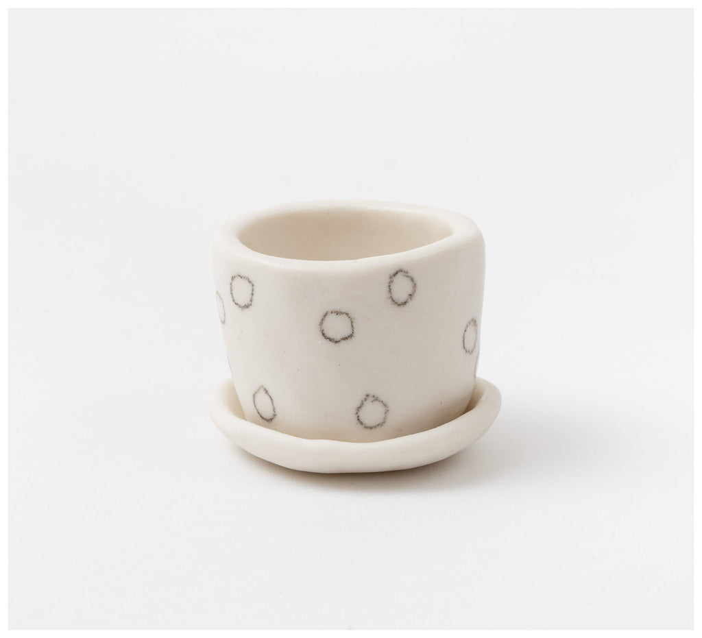 Warisa - Mini planter with saucer - Circles