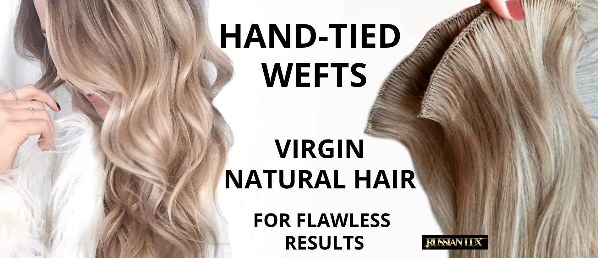 Russian hand tied wefts hair extensions