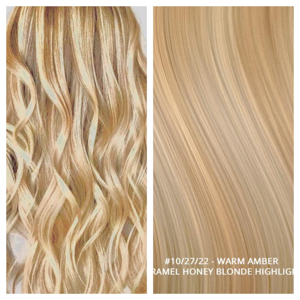 RUSSIAN WEFT WEAVE HAIR EXTENSIONS HIGHLIGHTS #10/27/22 - WARM AMBER - CARAMEL HONEY BLONDE HIGHLIGHTS