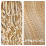 RUSSIAN TAPE HAIR EXTENSIONS HIGHLIGHTS #10/27/22 - WARM AMBER - CARAMEL HONEY BLONDE HIGHLIGHTS