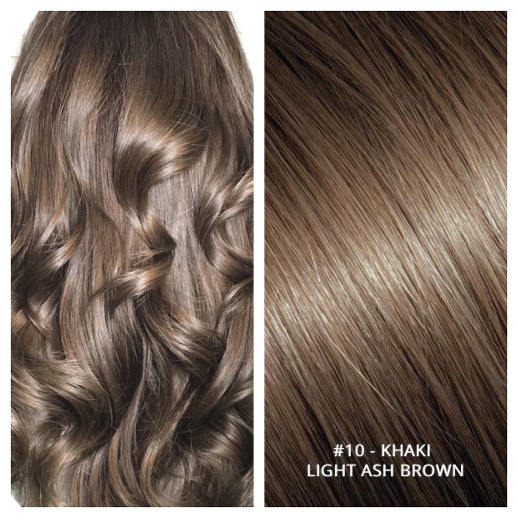 RUSSIAN CLIP IN HAIR EXTENSIONS #10 - KHAKI - LIGHT ASH BROWN