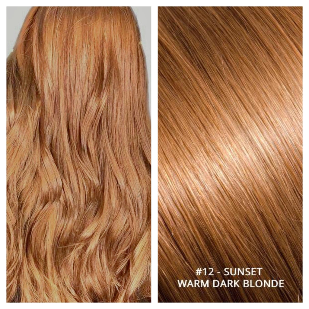RUSSIAN CLIP IN HAIR EXTENSIONS #12 - SUNSET WARM DARK BLONDE