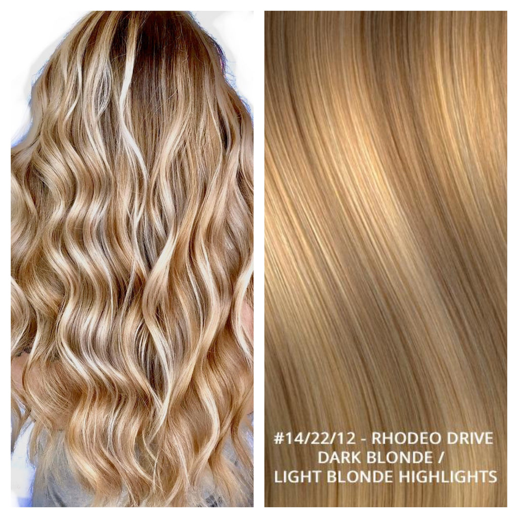 RUSSIAN WEFT WEAVE HAIR EXTENSIONS HIGHLIGHTS #14/22/12 - RHODEO DRIVE - DARK BLONDE / LIGHT BLONDE HIGHLIGHTS