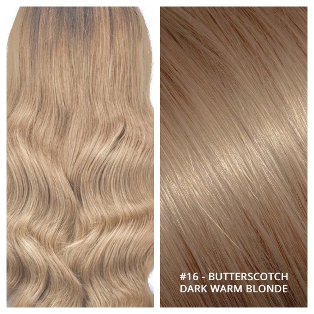 KERATIN BOND NAIL TIP #16 - BUTTERSCOTCH - DARK WARM BLONDE RUSSIAN HAIR EXTENSIONS