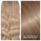 RUSSIAN CLIP IN HAIR EXTENSIONS #16 - BUTTERSCOTCH - DARK WARM BLONDE