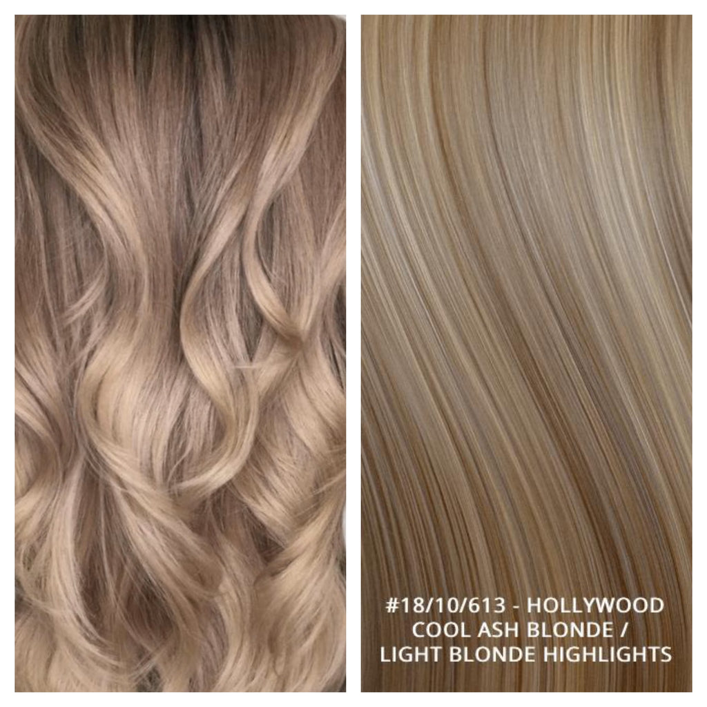 RUSSIAN KERATIN BOND NAIL TIP HAIR EXTENSIONS HIGHLIGHTS  #18/10/613 - HOLLYWOOD - COOL ASH BLONDE / LIGHT BLONDE HIGHLIGHTS