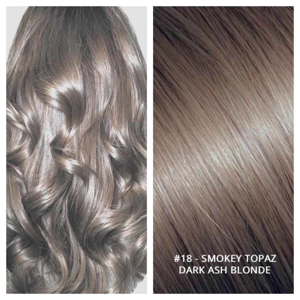 #18 - SMOKEY TOPAZ - DARK ASH BLONDE RUSSIAN CLIP IN HAIR EXTENSIONS