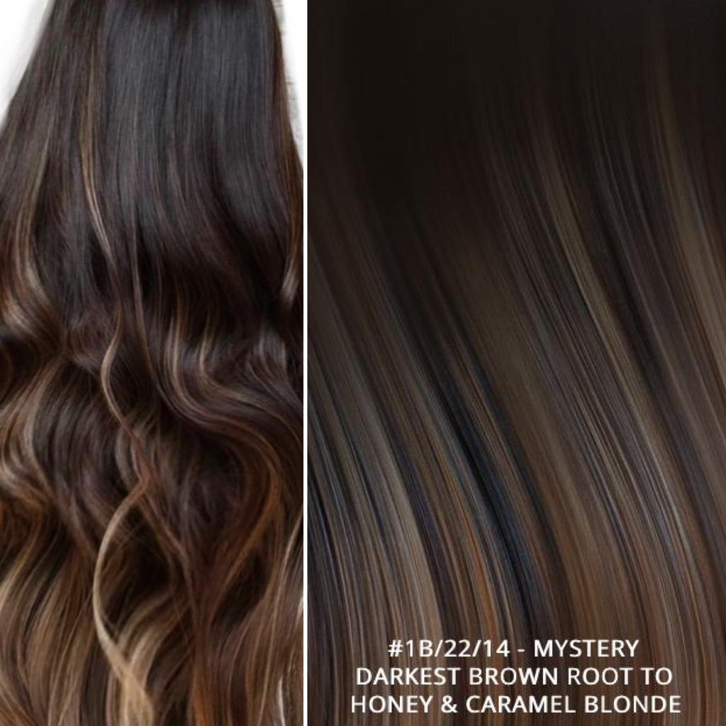 Russian tape short root balayage ombre hair extensions#1B/22/14 - MYSTERY - DARKEST BROWN ROOT TO HONEY & CARAMEL BLONDE