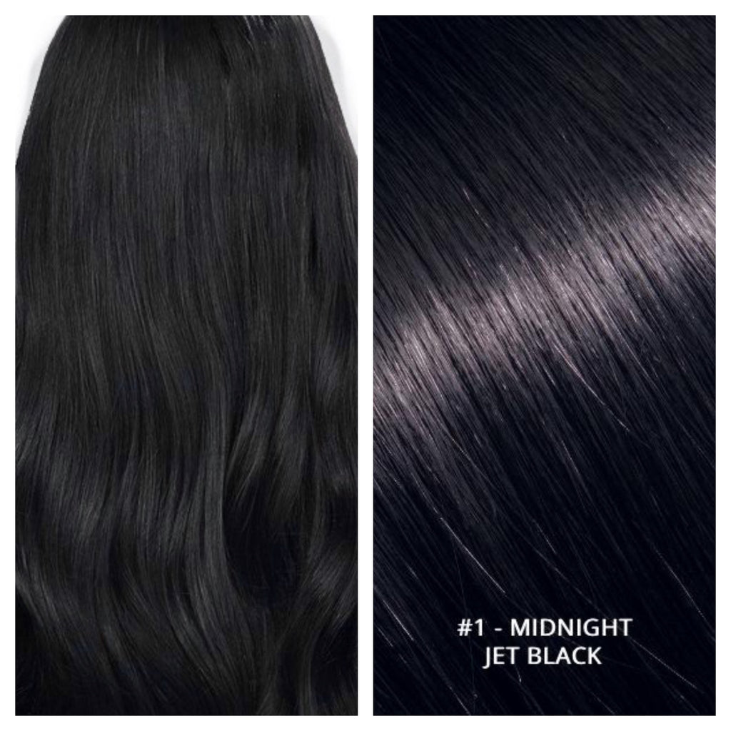 KERATIN BOND NAIL TIP #1 MIDNIGHT - DARKEST BROWN JET BLACK RUSSIAN HAIR EXTENSIONS
