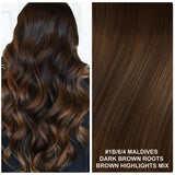 RUSSIAN TAPE HAIR EXTENSIONS HIGHLIGHTS #1B/6/4 - MALDIVES - DARK BROWN ROOTS BROWN HIGHLIGHTS MIX
